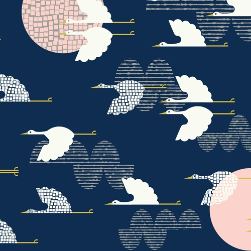 (My favorite print from my new collection. ^_^) 1000 Cranes | Indigo :: Tsuru by Rashida Coleman-Hale for Cloud9 Fabrics