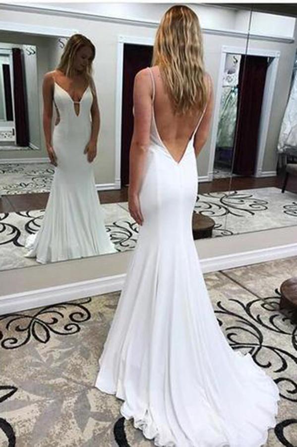 Sexy Mermaid Deep V-Back Prom Dress Custom Made V-Neck White Long Formal  Evening Gowns PD307 e6b3fc4ba