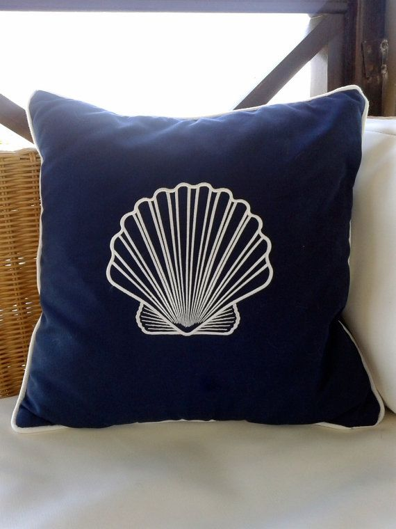 SEA SHELLS indooroutdoor pillowembroidered  by letsdecorateonline, $32.40