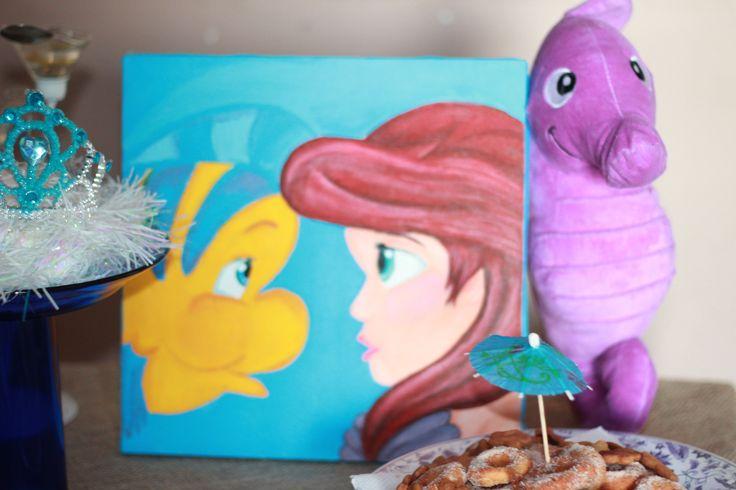 Quadro Ariel pintado por mim mesma!! Festa pequena sereia:Ariel Fundo do mar