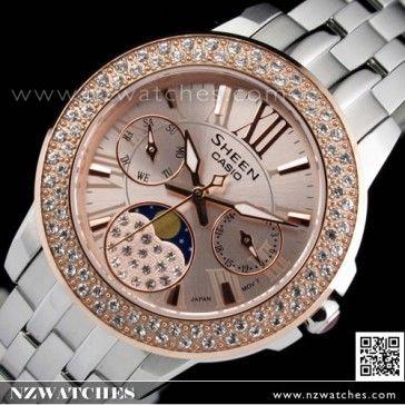BUY Casio Sheen SWAROVSKI Cruise Line Moon Phase Ladies Watch SHE-3506SG-4A, SHE3506SG - Buy Watches Online | CASIO NZ Watches