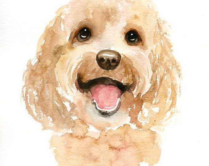 Boston Terrier Watercolor Painting Watercolor Dog Portrait