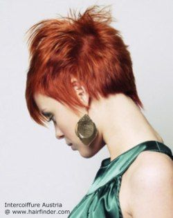 Pixie cut with elongated parts for red hair.