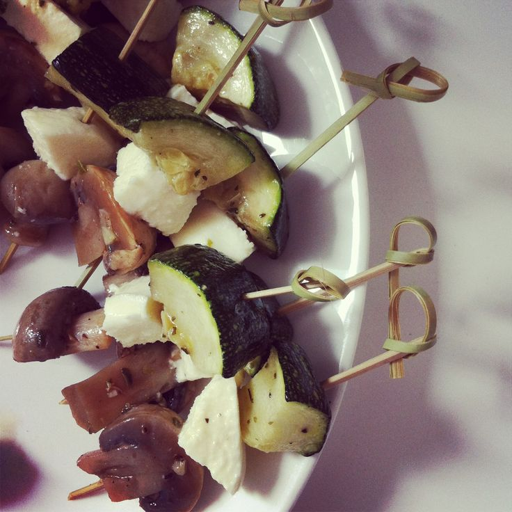 Mushroom, mozzarella and courgette snack