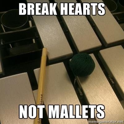 Haha<--during a concert the percussionists in another band was playing with four mallets and two of the ends just flew right off