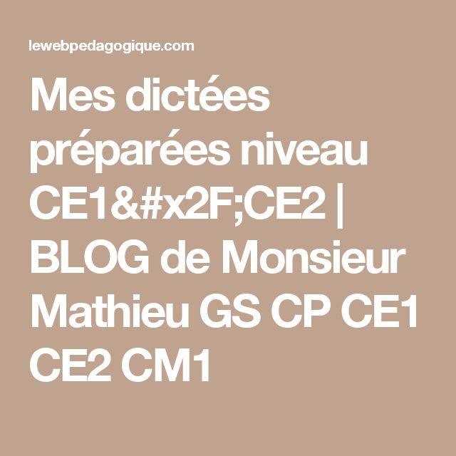 Mes dictées préparées niveau CE1/CE2 | BLOG de Monsieur Mathieu GS CP CE1 CE2 CM1