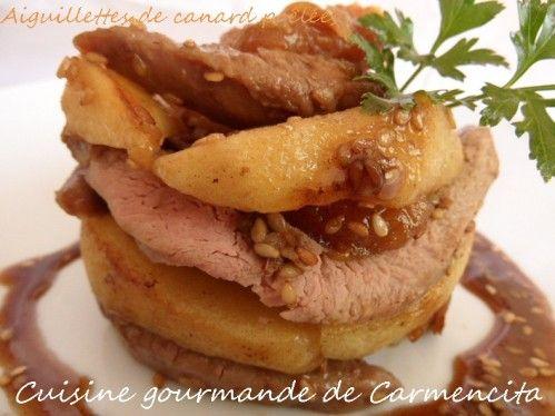 aiguillettes de canard poêlées aux pommes et abricots  http://www.carmen-cuisine.com/article-aiguillettes-de-canards-poelees-aux-pommes-et-abricots-107466088.html