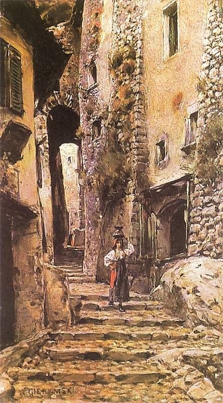 Aleksander Gierymski. Uliczka w Cervarze 1886. Olej na Płótnie. Własność…