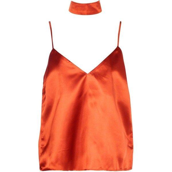 Boohoo Tall Ebony Choker Satin Cami   Boohoo ($22) ❤ liked on Polyvore featuring intimates, camis, satin cami and satin camisole