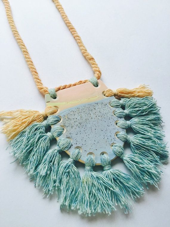 Polymer clay and rope necklace by Kelaoke on Etsy