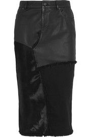 TOM FORD Calf hair, leather and denim skirt