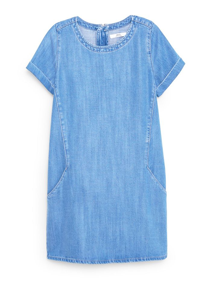 Mango Soft Denim Dress in Medium Blue