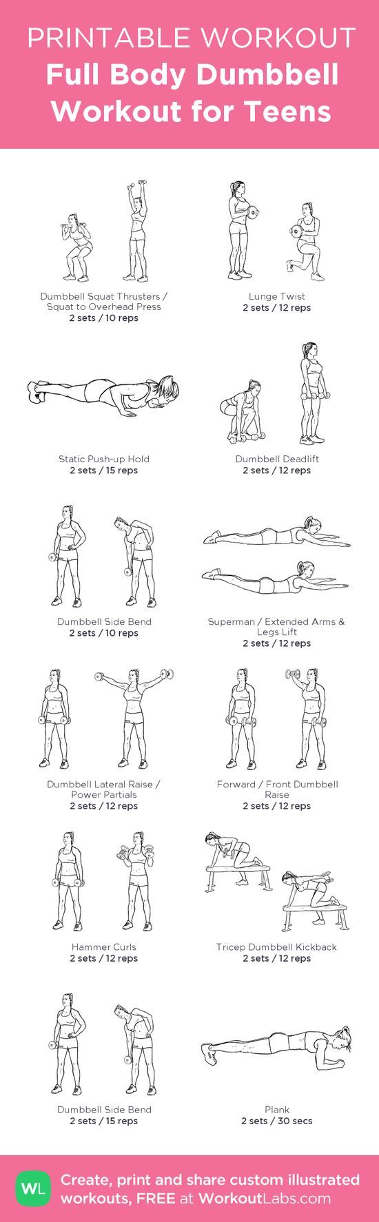 Full Body Dumbbell Workout for Teens – my custom workout created at WorkoutL • Click through to download as printable PDF!   http://workout.kira.lemoncoin.org