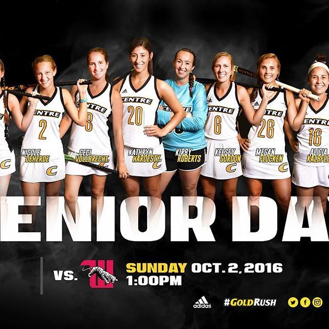 #WCW 😍 #CentreFH will celebrate Senior Day on Sunday @ 1pm vs. Wittenberg 👍🏆Come down to South Turf to celebrate these 8 young women and cheer on your Colonels! #GoldRush #Second2none