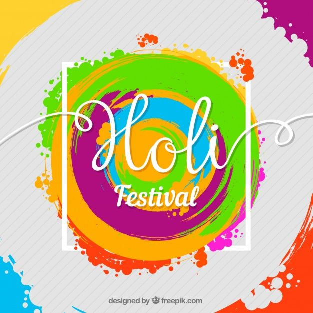 Holi festival background in flat design Free Vector