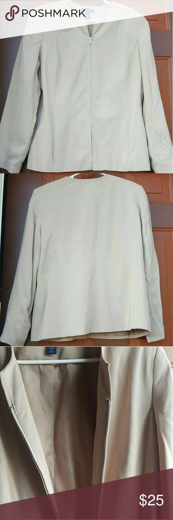 Collarless blazer with zipper Its a blazer/jacket with no collar with a zipper down the middle Karen Scott Jackets & Coats Blazers