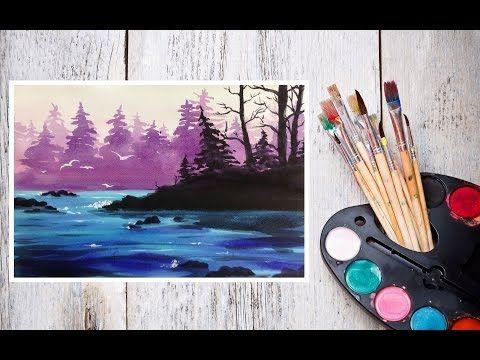 Видео урок Рисуем Акварелью Лесной пейзаж! #Dari_Art - YouTube
