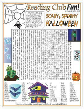 FREE - HALLOWEEN WORD SEARCH - Scary, Spooky Halloween Word Search Puzzle (check out our matching BINGO GAMES.)