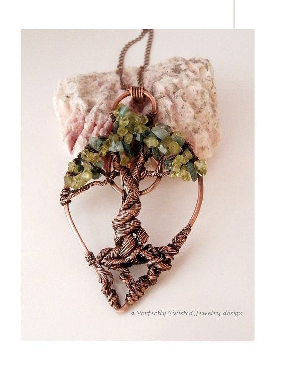 Wire Wrapped Tree Pendant, Braided Bonsai, Peridot & Emeralds, Handmade Jewelry, Antiqued Copper, Wire Tree Jewelry, August, May Birthstone