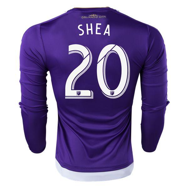 adidas Shea Long Sleeve Orlando City Authentic Home Soccer Jersey 2015