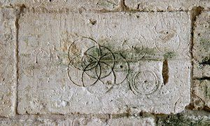 Markings in Tithe Barn, Bradford-on-Avon, Wiltshire.