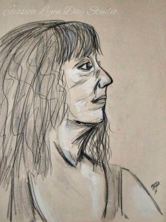 """Charcoal Sketch from Life by Jessica Lynn Day Studios. """"At ease."""""""