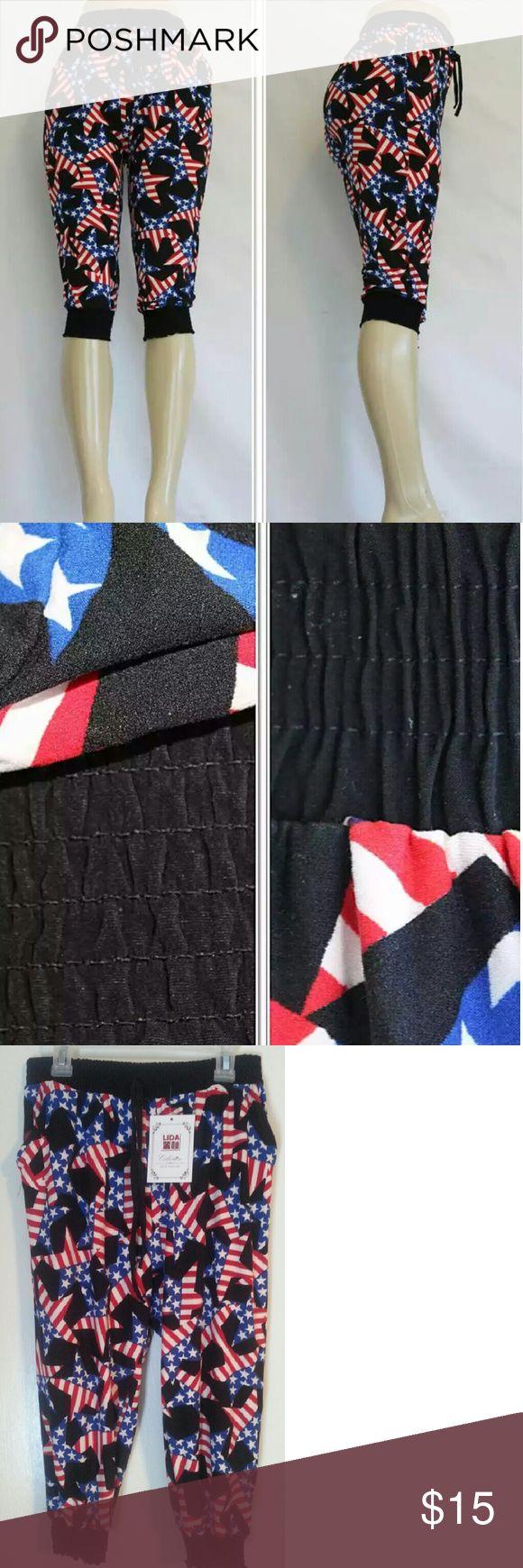 X SOLD X NWT CAPRI JOGGER FOR WOMEN Fashion Capri Jogger Leggings American Flag Print Patriotic Start Tripes  Two Front Pocket Lida Pants Track Pants & Joggers