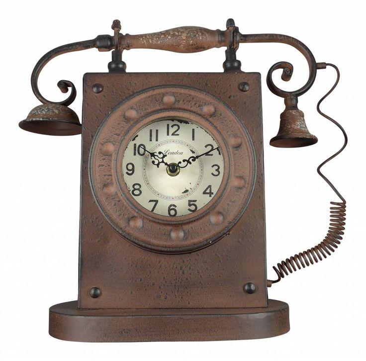 la casa di caesar standuhr aus metall in telefon optik antik rost ma e 33x12x35cm wohndeko. Black Bedroom Furniture Sets. Home Design Ideas