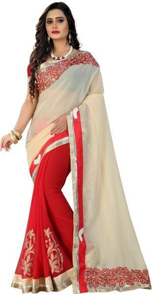 LadyIndia.com # Silk Saree, Classy Beige Red Georgette Saree For Women -Sari, Printed Sarees, Casual Saris, Silk Saree, https://ladyindia.com/collections/ethnic-wear/products/classy-beige-red-georgette-saree-for-women-sari
