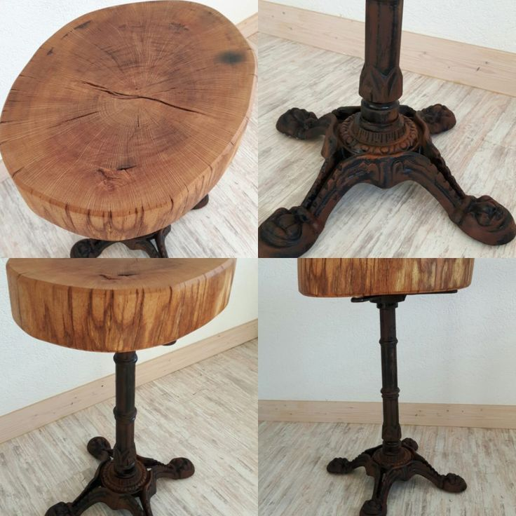 rustikaler tisch mit baumscheibe aus eiche eiche. Black Bedroom Furniture Sets. Home Design Ideas