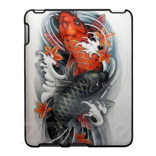 Japanese red black koi fish tattoo art ipad covers ipad for Black and gold koi fish
