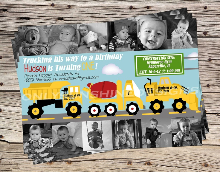 Boys 1st Year Truck Birthday Theme Digital Inviation with 12 Photo Collage. $18.00, via Etsy.