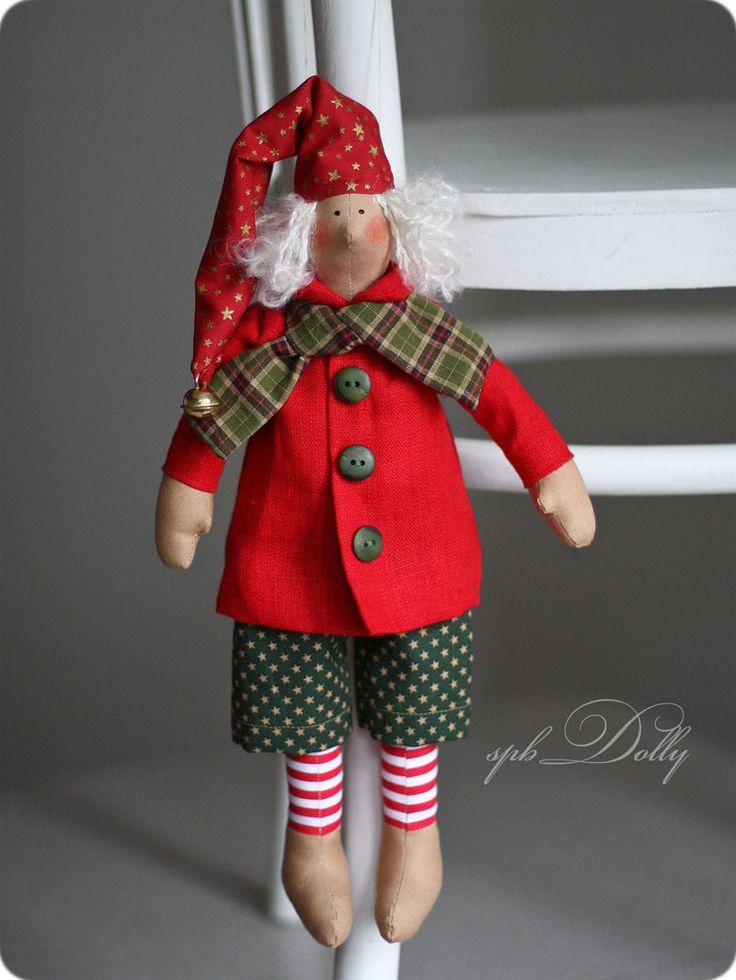 Купить Рождественский гном - кукла тильда ручной работы - ярко-красный, кукла, тильда, гном