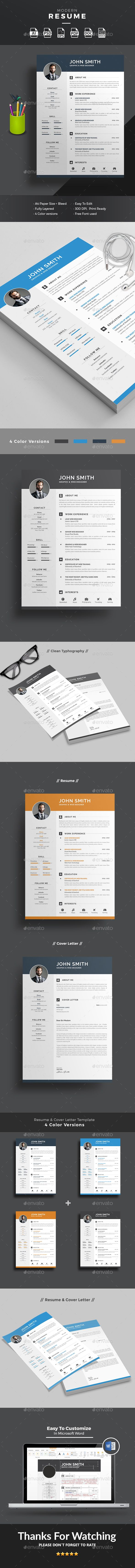 #Resume - Resumes #Stationery - #Clean Resume & CV Template - #Word Resume Template - #Photoshop Resume Template - #Modern Resume - #Illustrator Resume Template -Download here: https://graphicriver.net/item/resume/17494830?ref=alena994