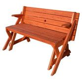 Bench to Picnic Table  Found it at Wayfair - Convertible Wood Picnic Table and Garden Bench  You can also buy the plan to BUILD it instead, HERE: http://www.buildeazy.com/folding_instructions_1.html