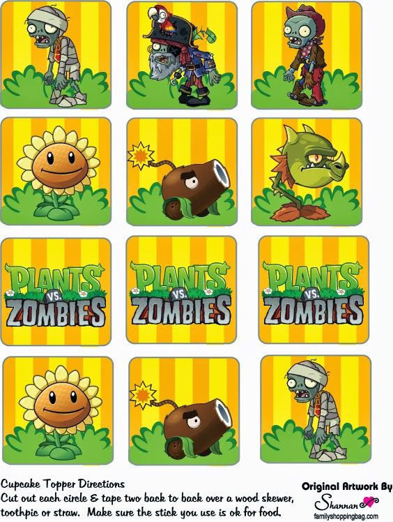 Plants vs Zombies: Free Printable Cupcake Toppers and Wrappers.