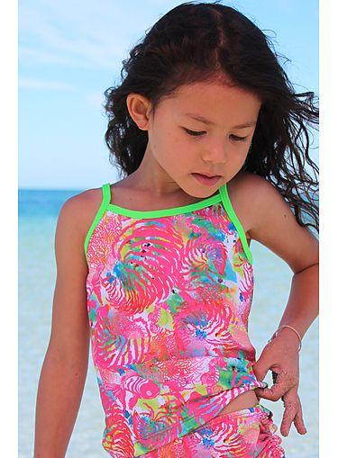 Tankini top for girls in Fish print