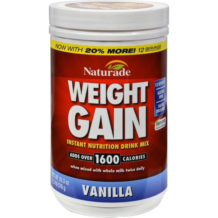 Naturade Weight Gain Vanilla Description: Amplify Caloric Intake 21 grams of Carbs, 9 grams of Protein per Serving Enhanced Calorie Absorption Formula Stimulant Free Gain More and Save Maximize your c More