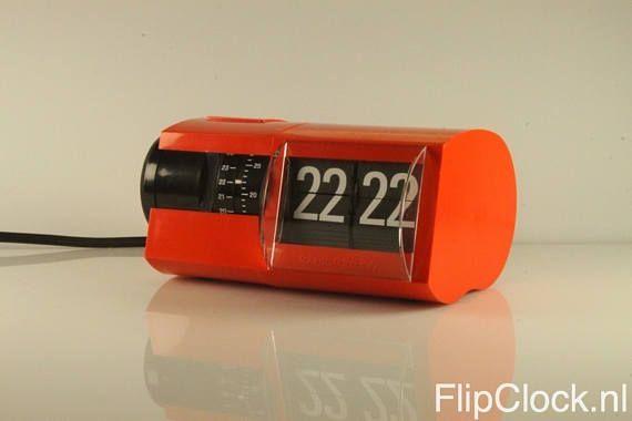 Rare and beautiful Solari orange/red flip-alarm-clock flip