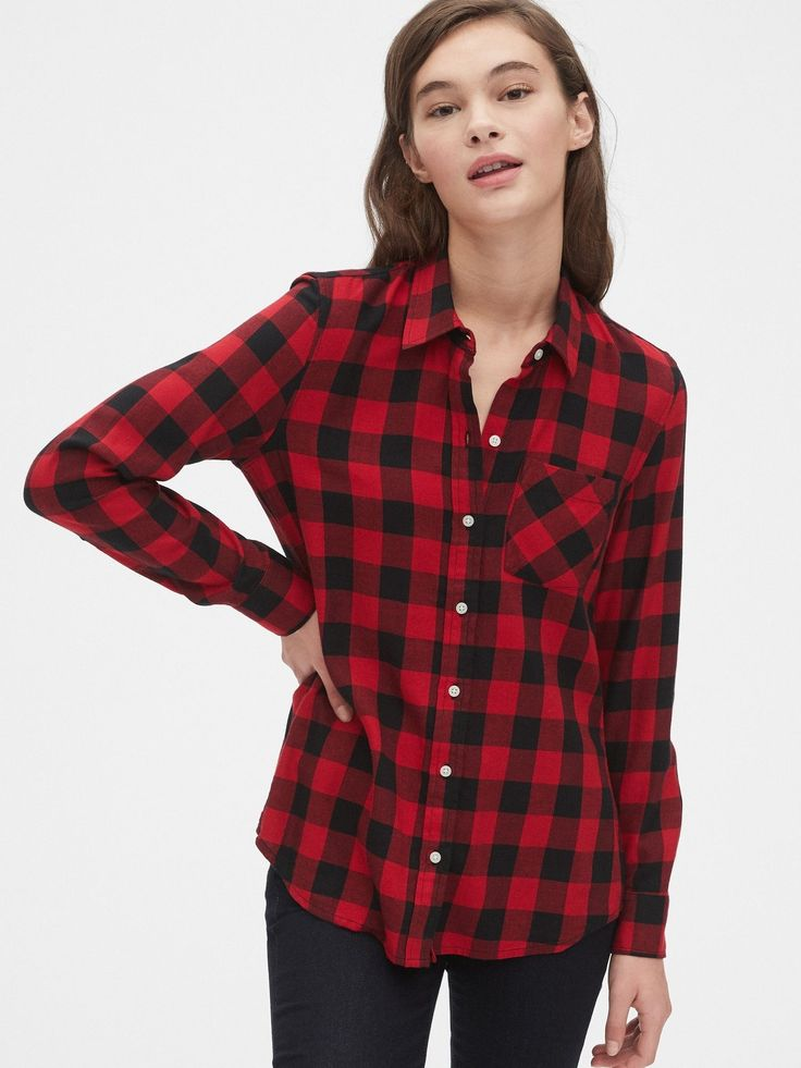 Gap plaid flannel shirt red buffalo check in 2020 womens