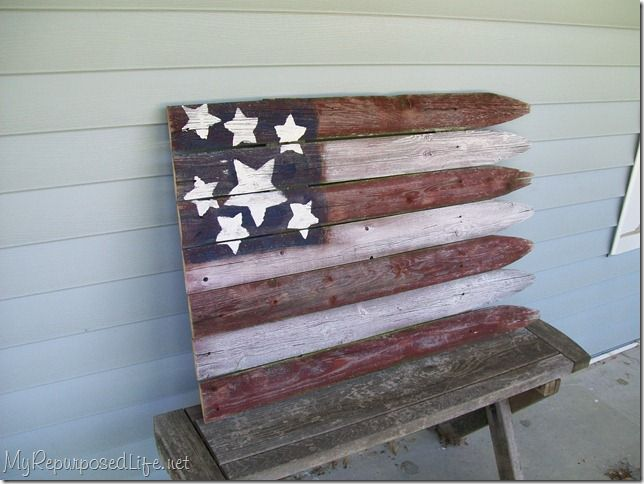 Perfect for #4thofJuly - My Repurposed Life reclaimed fence repurposed into a flag