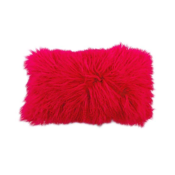 Coral Tibetan Lamb Pillow with Silk Coral Backing