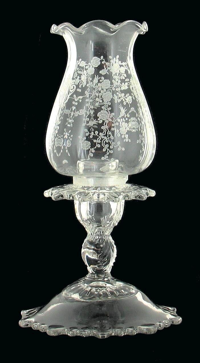 Cambridge Glass  Vintage Cambridge Glass Rose Pointrare Pair Hurricane  Lamps Martha