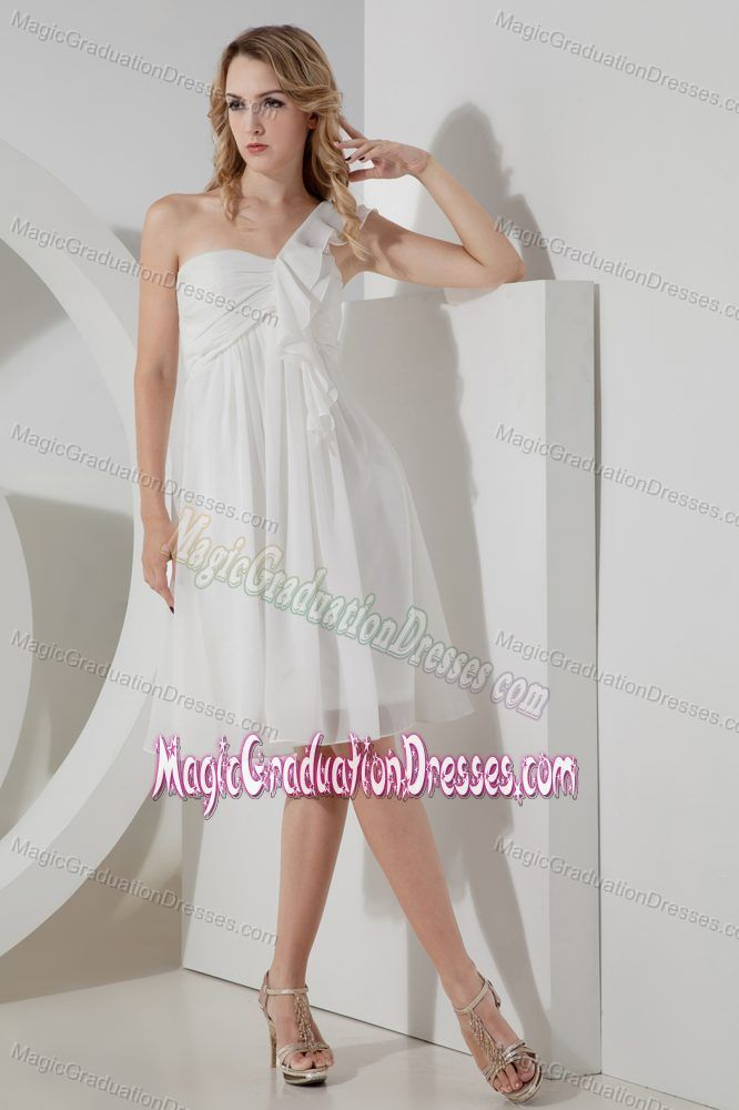 One Shoulder White Chiffon Short 5th Grade Graduation Dress in Cordova USA