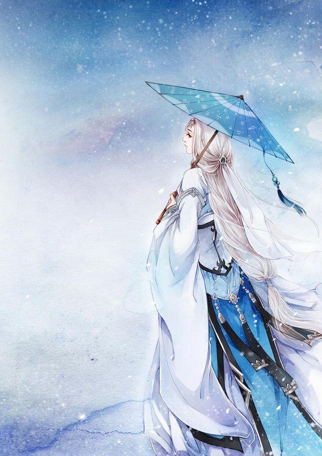 〆朝露曇花\咫尺兲厓采集到今夕何夕、青草离离(424图)_花瓣插画