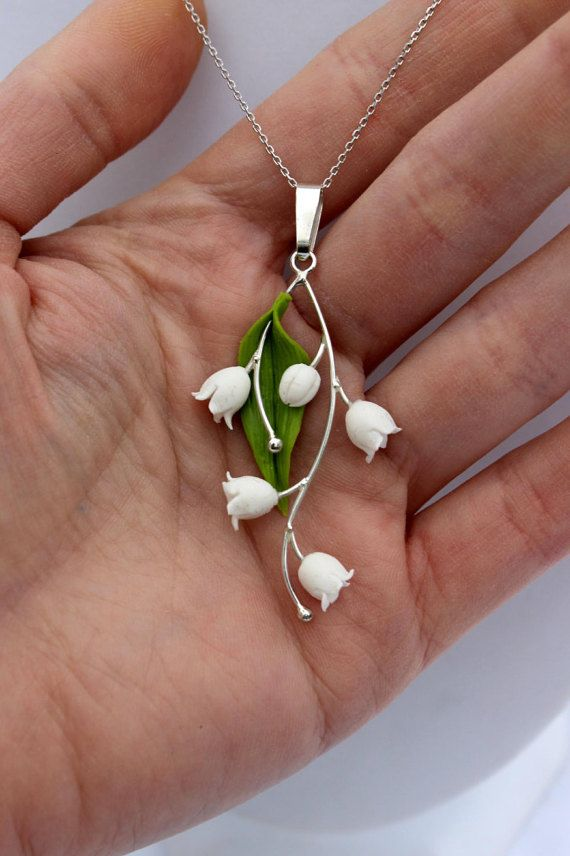 Lily of the valley pendant, silver 925 spring gift jewelry, pendant with chain…