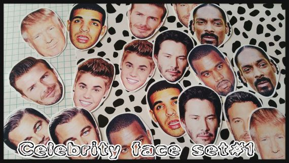 Celebrities Man Faces Stickers Laptop Luggage Guitar Skateboard Funny Stickers