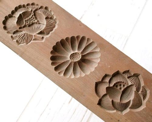 Japanese Antique Kashigata Lotus Flower Kiku Peony w Cover Wooden Cake Mold | eBay