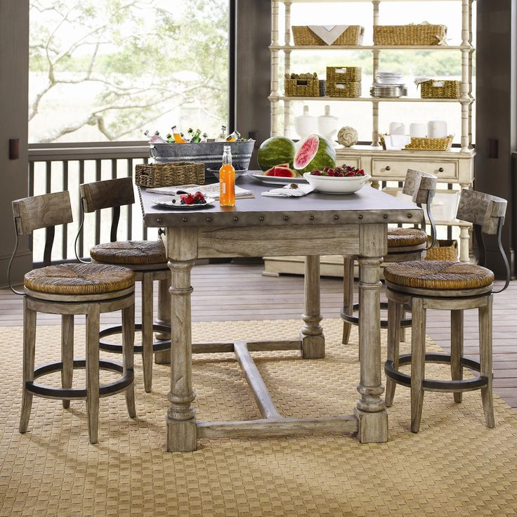 Weathered Pub Style Table And Stools Dining Rooms