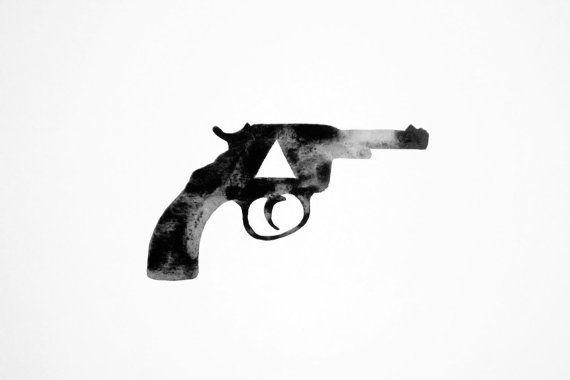 Geometric Pistol - Original Watercolor by Kara